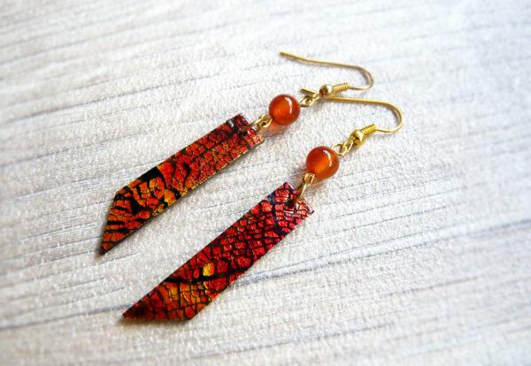 Boucles d'oreilles « Dreams in Colors » rouge - inspiration nature - Bijou de Créateur en cornaline
