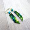 Boucles d'oreilles « Dreams in Colors » vertes - inspiration nature - Bijou de Créateur Wire wrapping et chrysocolle