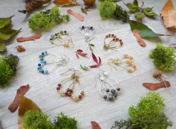 Boucles d'oreilles Wire wrapping - Bijou de Créateur unique en Wire Wrapping, inspiration celtique et païenne - Boucles « Idylle » en pierres fines