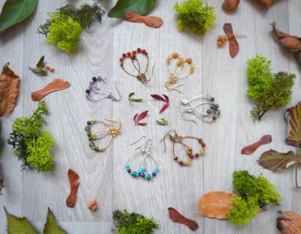 Boucles d'oreilles « Idylle » - inspiration celtique et païenne - Bijou de Créateur en Wire Wrapping et pierres fines
