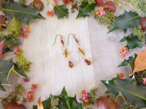 Boucles d'oreilles Wire wrapping - Bijou de Créateur unique en Wire Wrapping, inspiration celtique et païenne - Boucles « Infinité grenat » en grenat et oeil de tigre