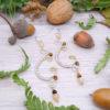 Boucles d'oreilles Wire wrapping - Bijou de Créateur unique en Wire Wrapping, inspiration celtique et païenne - Boucles « Cycles des Vents» en quartz et oeil de tigre