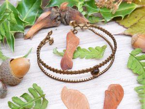 Bracelet unique «Oeil d'Horus » - inspiration celtique et païenne - Bijou de Créateur en Wire Wrapping, perle oeil de tigre