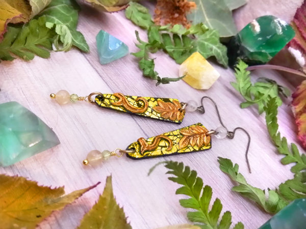 Boucles d'oreilles « couleurs de la nature – Automne précoce » - inspiration nature - Bijou de Créateur perles quartz et péridot