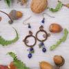 Boucles d'oreilles Wire wrapping - Bijou de Créateur unique en Wire Wrapping, inspiration celtique et païenne - Boucles « Cycles de Velana » en lapis et labradorite