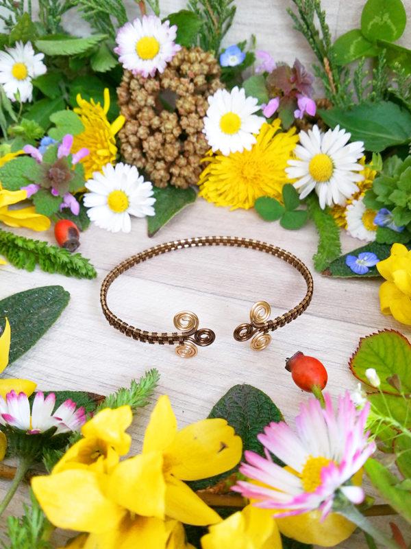 Bracelet unique « Tressage antique – Abriel » - inspiration celtique et païenne - Bijou de Créateur en Wire Wrapping.