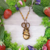 Collier Wire wrapping - Bijou de Créateur unique en Wire Wrapping, inspiration celtique et païenne - Collier « Sous l'oranger » en pierre de fossile et aventurine