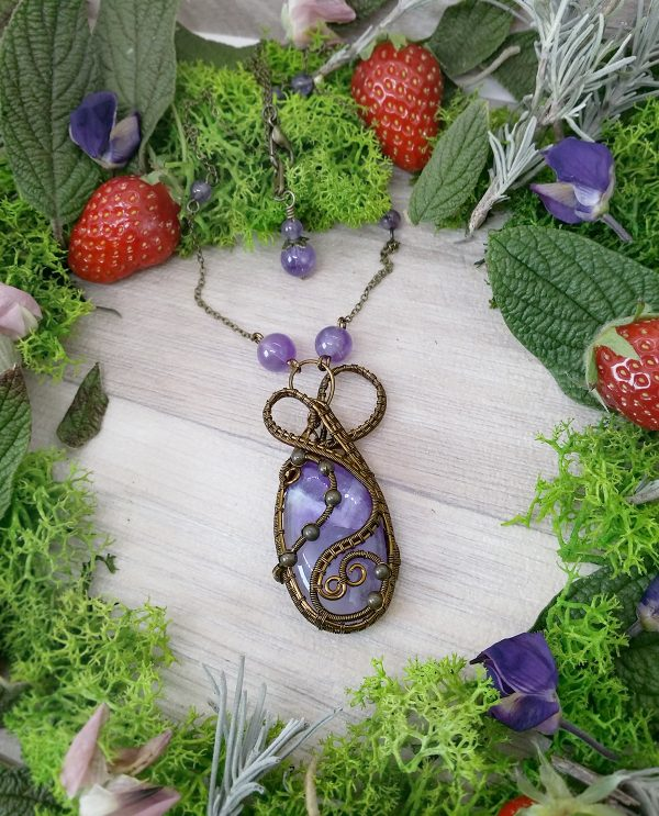Collier Wire wrapping - Bijou de Créateur unique en Wire Wrapping, inspiration celtique et païenne - Collier « Coeur de Viarrey » en améthyste