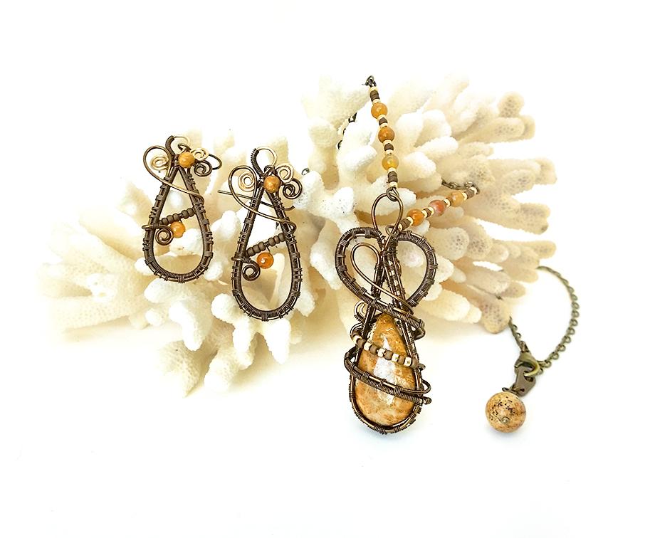 parure bijoux créateur collier et boucles d'oreilles