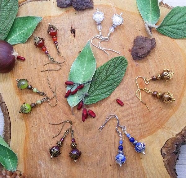 Boucles d'oreilles modèle « Larmes » - Bijou de Créateur en Wire Wrapping et pierres fines