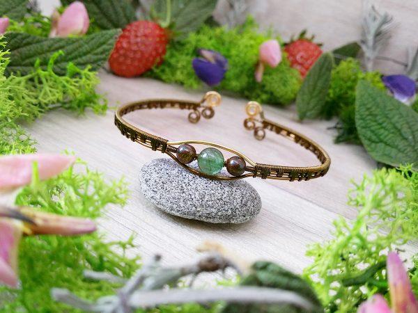 """Bracelet """"Secret des Embruns"""" - inspiration celtique - Bijou de Créateur en Wire Wrapping, perles quartz et bronzite"""