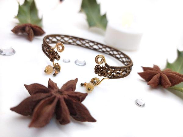 Bracelet Wire wrapping / Wire wrapped bracelet - Bijoux de créateur unique en Wire Wrapping, inspiration celtique - Unique wire wrapped jewelry, Celtic inspiration - Bracelet « Rêve celtique » avec quartz et grenat hessonite